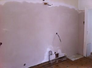 plâtre sur mur