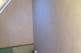 Plâtre suite retrait faïence et condamnation d'une porte en briques