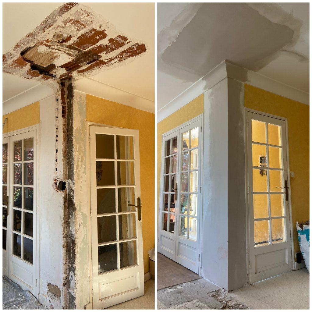 Reprise en plâtre mur plafond corniche